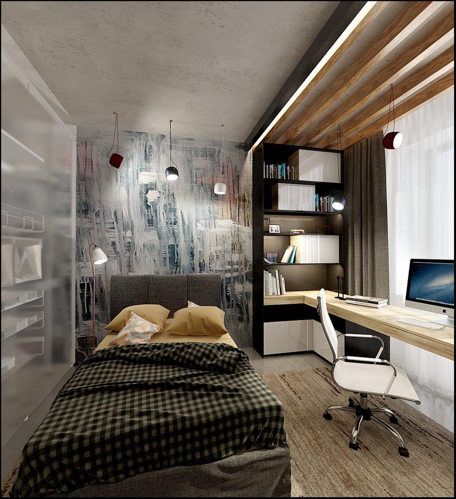 Фотография:  в стиле , Спальня, Кабинет, Лофт, Декор интерьера, Квартира, Планировки, Декор, Мебель и свет, Проект недели, Зеленый, Серый, Коричневый, комната студента, как обустроить комнату для студента, спальня в стиле лофт – фото на INMYROOM