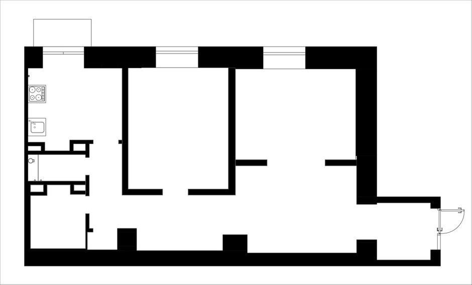 Фотография: Планировки в стиле , Квартира, Перепланировка, Москва, Никита Зуб, 2 комнаты, 60-90 метров, планировочная среда – фото на INMYROOM