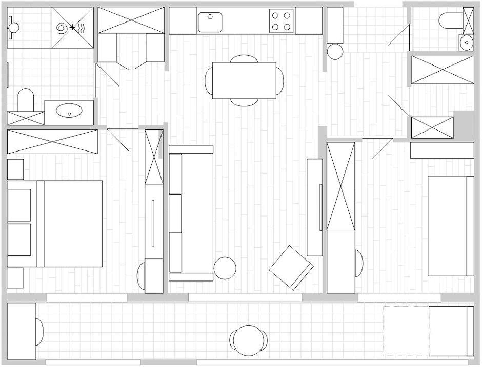 Фотография: Планировки в стиле , Современный, Квартира, Проект недели, Москва, 3 комнаты, 60-90 метров, Ирина Сагун – фото на INMYROOM