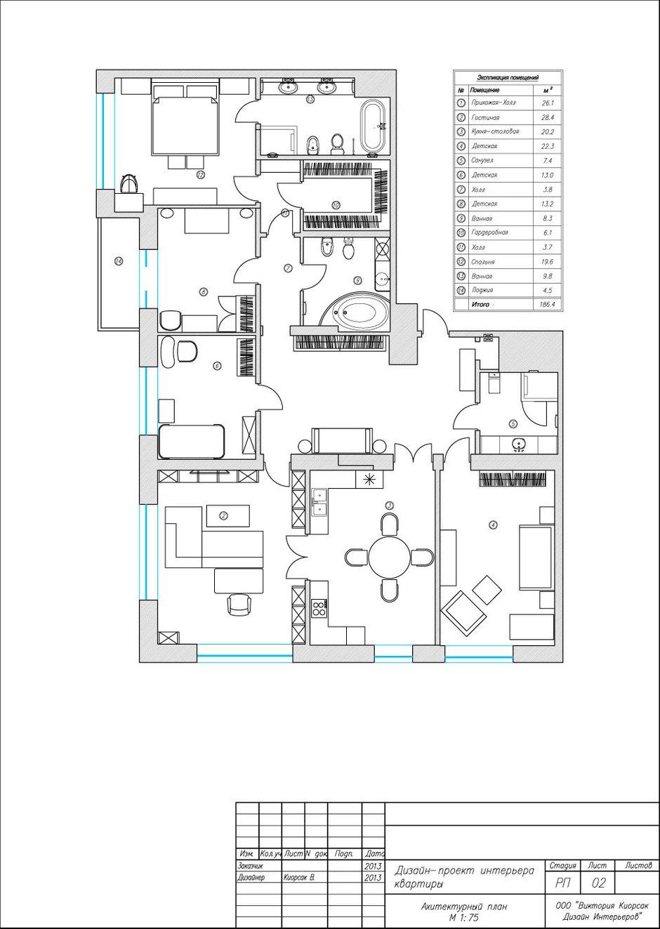 Фотография: Планировки в стиле , Квартира, Проект недели, Москва, Виктория Киорсак, 4 и больше, Более 90 метров – фото на InMyRoom.ru