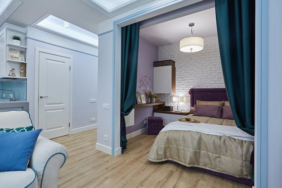Фотография: Спальня в стиле Современный, Квартира, Проект недели, Москва, Монолитный дом, 1 комната, 40-60 метров, Алла Апалкова – фото на INMYROOM