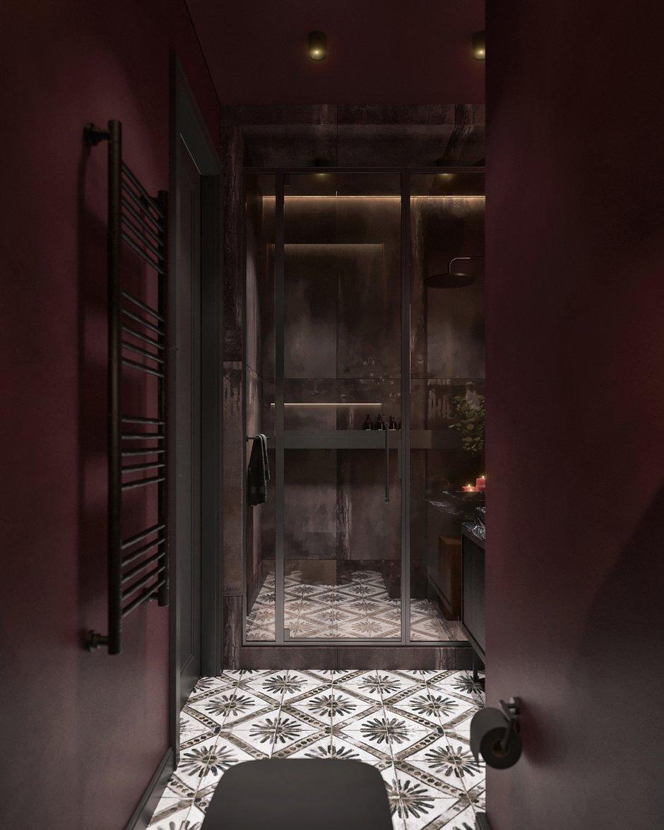 В однотонном санузле стильно смотрится плитка с узором, она добавляет динамики в интерьер.