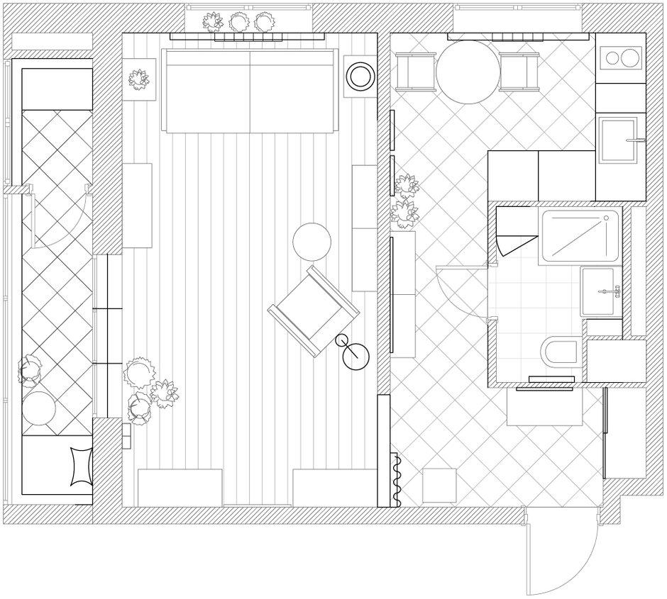 Фотография: Планировки в стиле , Эклектика, Квартира, Студия, Проект недели, Москва, Зеленый, Синий, Серый, Розовый, Голубой, Фуксия, паркет, керамическая плитка, маленькая кухня, без перепланировки, римская штора, Ирина Лаврентьева, как обустроить балкон, обустроить типовой балкон, ремонт на балконе идеи, балкон в типовой квартире, дизайн маленькой комнаты, животные дома, если в доме есть животные, обустройство однушки, читальня на балконе, плитка на кухне, дизайн типовой однушки, покрытие паркет, Анастасия Каменских, Lavka-design, яркий интерьер, до 40 метров – фото на INMYROOM