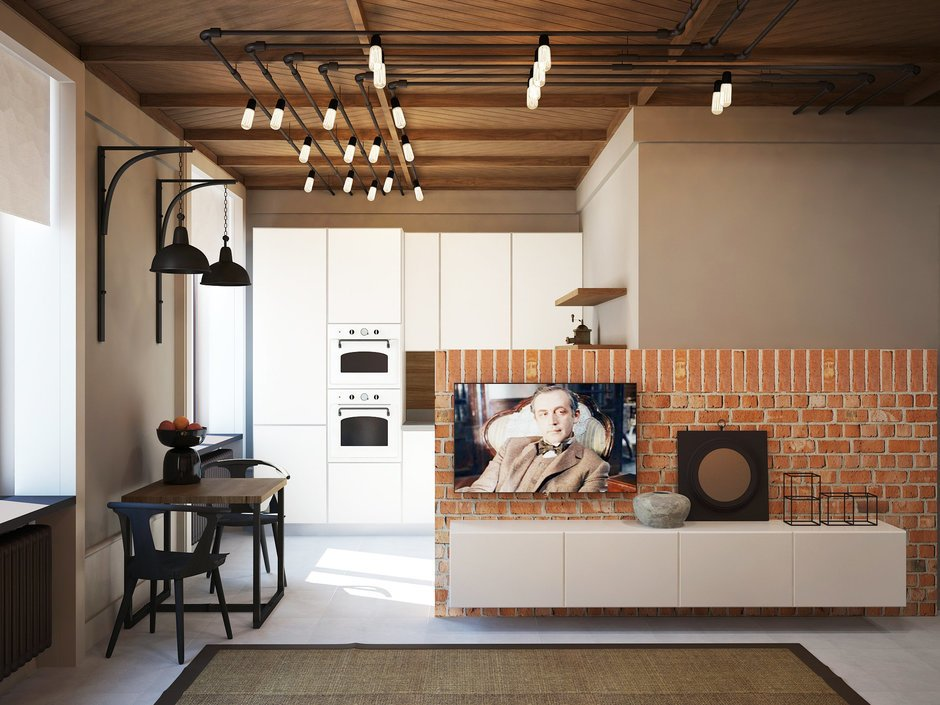 Фотография: Кухня и столовая в стиле Лофт, Квартира, Планировки, Проект недели, Сталинка – фото на INMYROOM