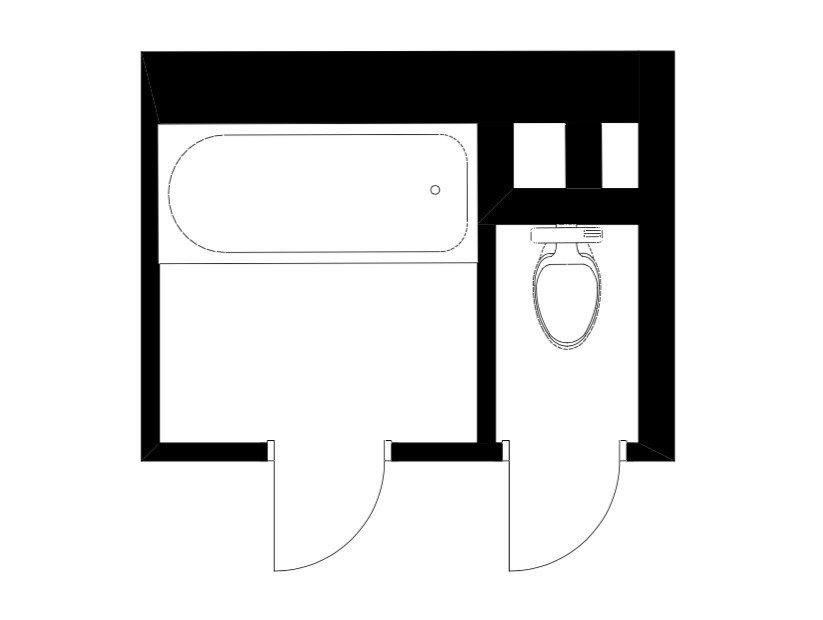 Изначальная планировка санузла в трехкомнатной квартире серии С-222