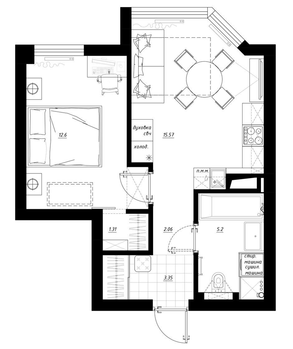 """Фотография: Планировки в стиле , Квартира, Студия, Перепланировка, Санкт-Петербург, Никита Зуб, Монолитный дом, 1 комната, 40-60 метров, планировочная среда, ЖК """"Шерлок Хаус"""" – фото на INMYROOM"""