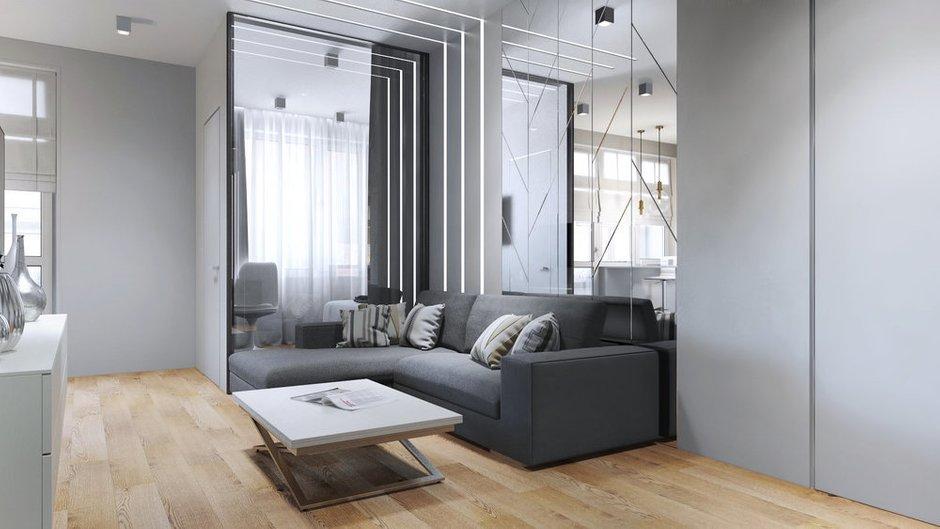 Фотография: Гостиная в стиле Современный, Квартира, Проект недели, Бежевый, Серый, 2 комнаты, 40-60 метров, Олеся Березовская – фото на INMYROOM