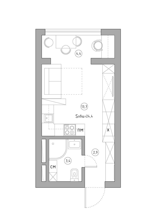 Фотография:  в стиле , Квартира, Перепланировка, перепланировка однушки, 1 комната, до 40 метров, энциклопедия_перепланировка, Анастасия Шарапова – фото на INMYROOM