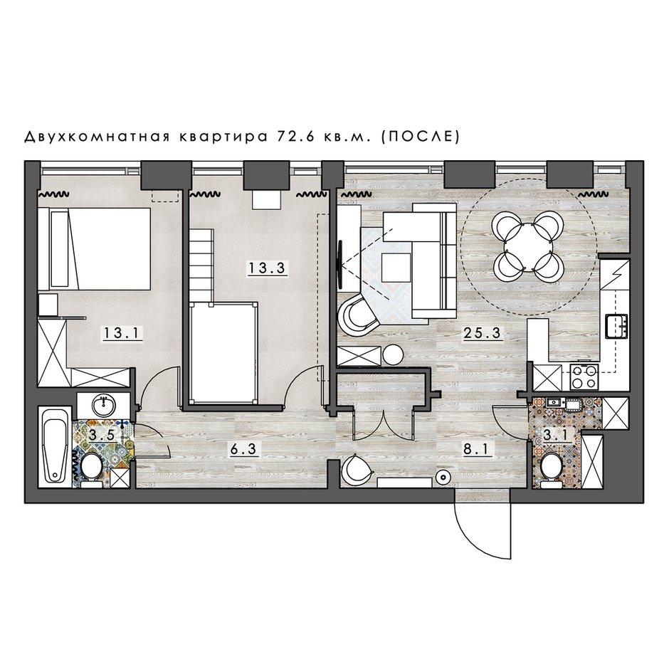 Фотография: Планировки в стиле , Эклектика, Квартира, Проект недели, Москва, 3 комнаты, 60-90 метров, Анастасия Струве – фото на INMYROOM