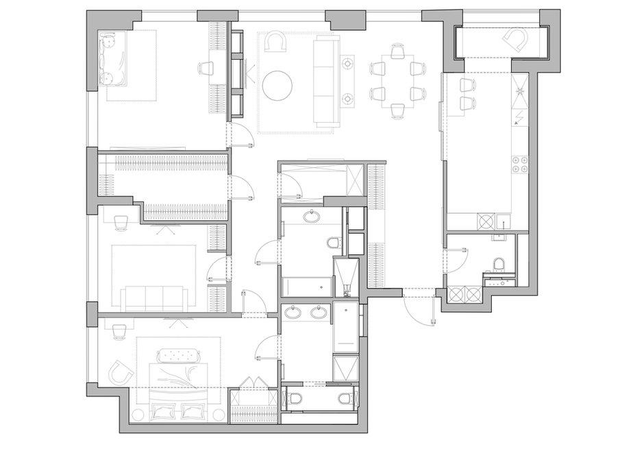 Фотография: Планировки в стиле , Современный, Квартира, Проект недели, Москва, 3 комнаты, Более 90 метров, Balcon – фото на INMYROOM
