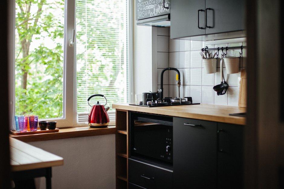 Фотография:  в стиле , Лофт, Современный, Квартира, Проект недели, Черный, Красный, Зеленый, Оранжевый, 2 комнаты, 40-60 метров, Павел Фотеев – фото на INMYROOM