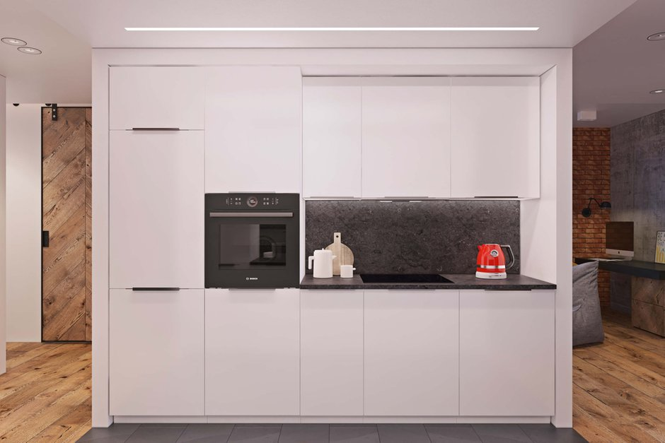 Фотография: Кухня и столовая в стиле Лофт, Минимализм, Квартира, Проект недели, Одинцово, Geometrium, Московская область, Монолитный дом, 2 комнаты, 60-90 метров – фото на INMYROOM