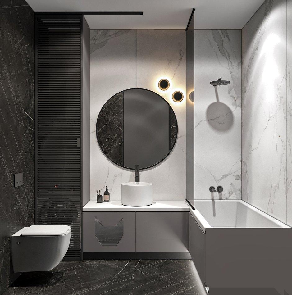Фотография: Ванная в стиле Минимализм, Скандинавский, Квартира, Проект недели, Москва, Монолитный дом, Quadro room, 3 комнаты, Более 90 метров – фото на INMYROOM