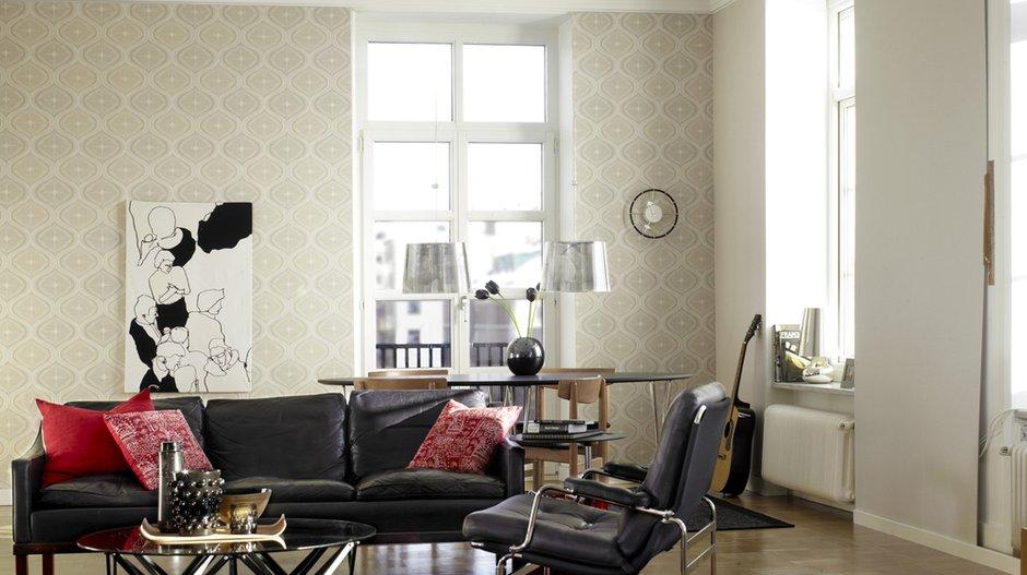 Фотография: Гостиная в стиле Классический, Современный, Декор интерьера, Дизайн интерьера, Цвет в интерьере, Обои, Стены, Эко – фото на INMYROOM