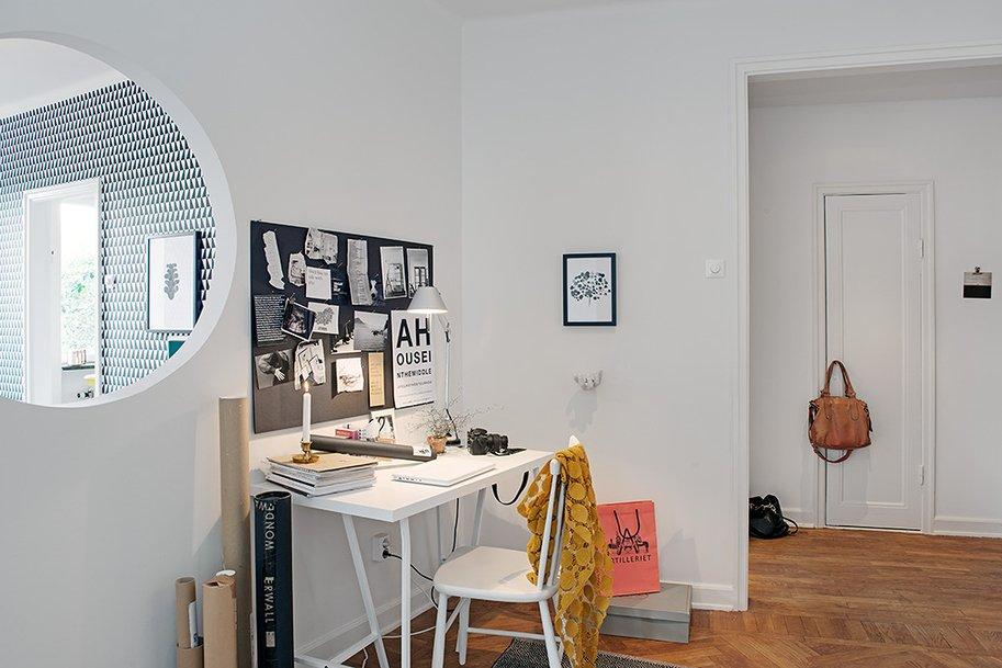Фотография: Офис в стиле Скандинавский, Современный, Декор интерьера, Квартира, Швеция, Цвет в интерьере, Дома и квартиры, Белый, Гетеборг – фото на INMYROOM
