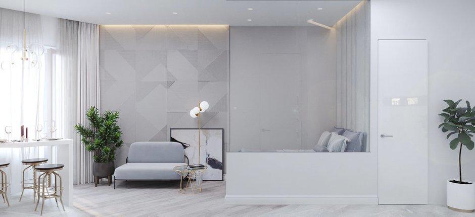Фотография: Гостиная в стиле Минимализм, Квартира, Советы, декор стен, малогабаритка, Loggia – фото на INMYROOM