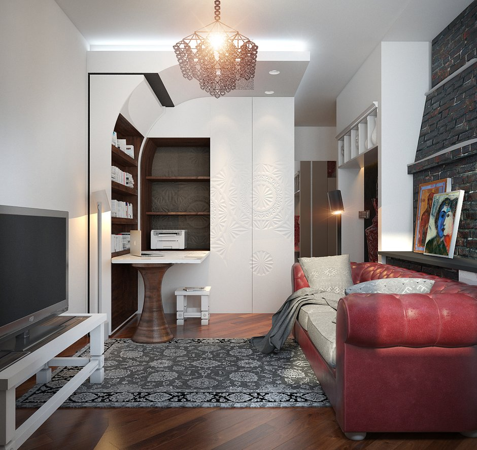 Фотография: Гостиная в стиле Эклектика, Квартира, Дома и квартиры, Проект недели – фото на INMYROOM