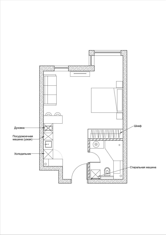 Фотография: Планировки в стиле , Современный, Малогабаритная квартира, Студия, Проект недели, Москва, до 40 метров – фото на INMYROOM