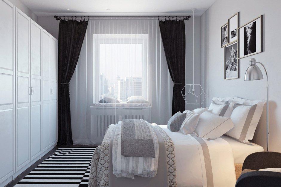 Фотография: Спальня в стиле Скандинавский, Квартира, Проект недели, Москва, Дарья Ельникова, Кирпичный дом, 2 комнаты, 60-90 метров – фото на INMYROOM