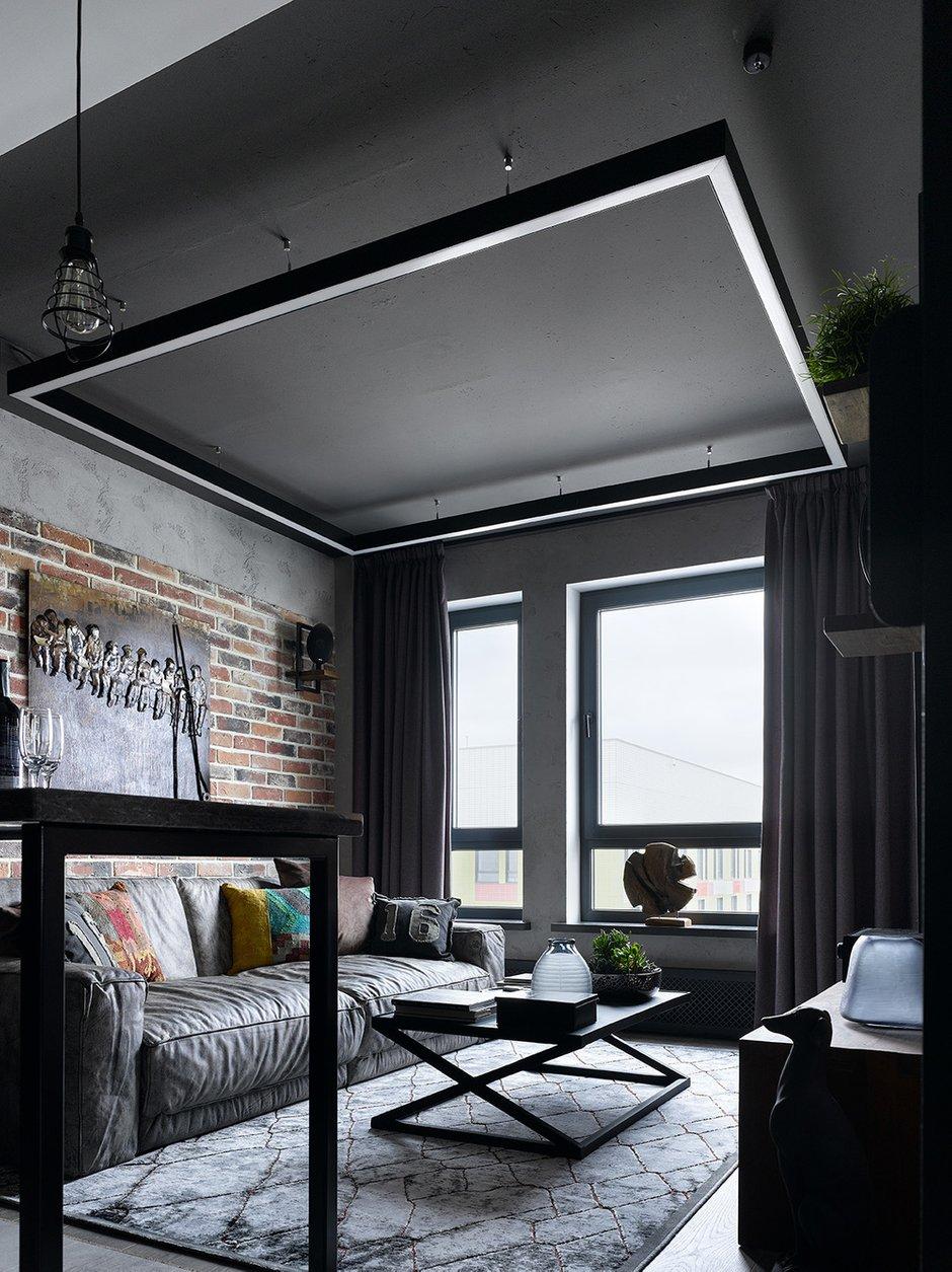 Фотография: Гостиная в стиле Лофт, Квартира, Проект недели, Москва, 2 комнаты, 3 комнаты, 60-90 метров, Анастасия Уфимцева – фото на INMYROOM