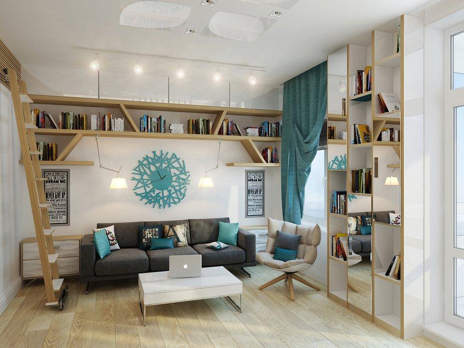 Фотография: Гостиная в стиле Современный, Малогабаритная квартира, Квартира, Хранение, Мебель и свет, Дома и квартиры, Проект недели – фото на INMYROOM