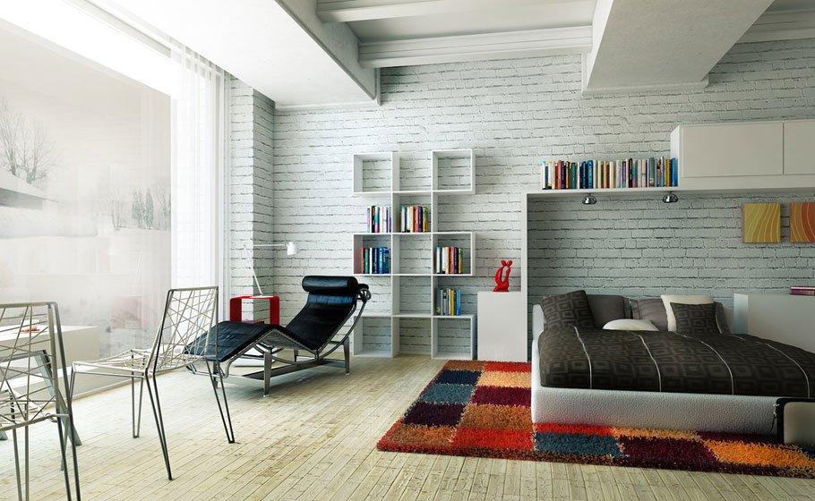 Фотография: Спальня в стиле Лофт, Декор интерьера, Дом, Мебель и свет, Полки, Лепнина – фото на InMyRoom.ru