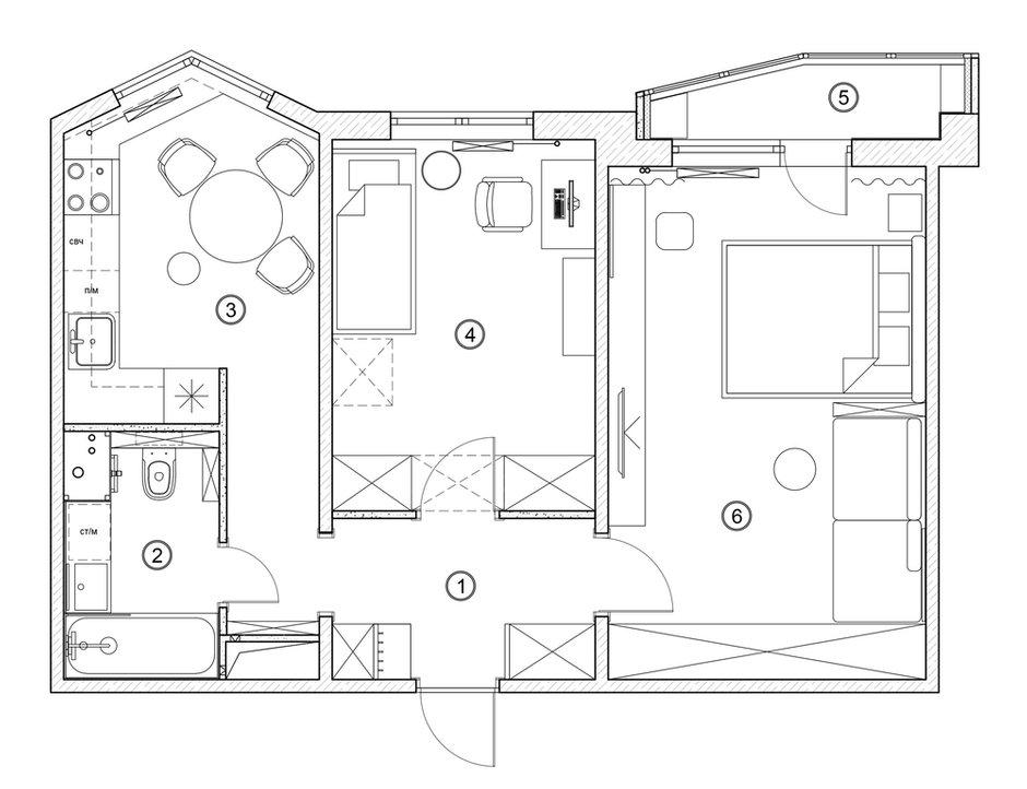 Фотография: Планировки в стиле , Квартира, Проект недели, Москва, Панельный дом, 2 комнаты, 40-60 метров, Бюро «Общая Площадь», П-44Т – фото на INMYROOM
