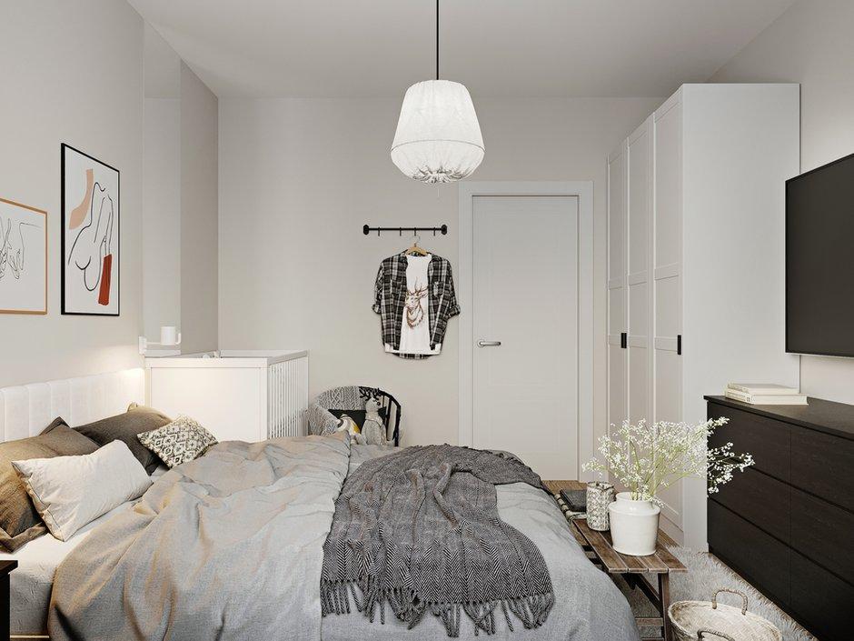 Фотография: Спальня в стиле Скандинавский, Квартира, Проект недели, Москва, 2 комнаты, 60-90 метров, Эльжбета Чегарова – фото на INMYROOM