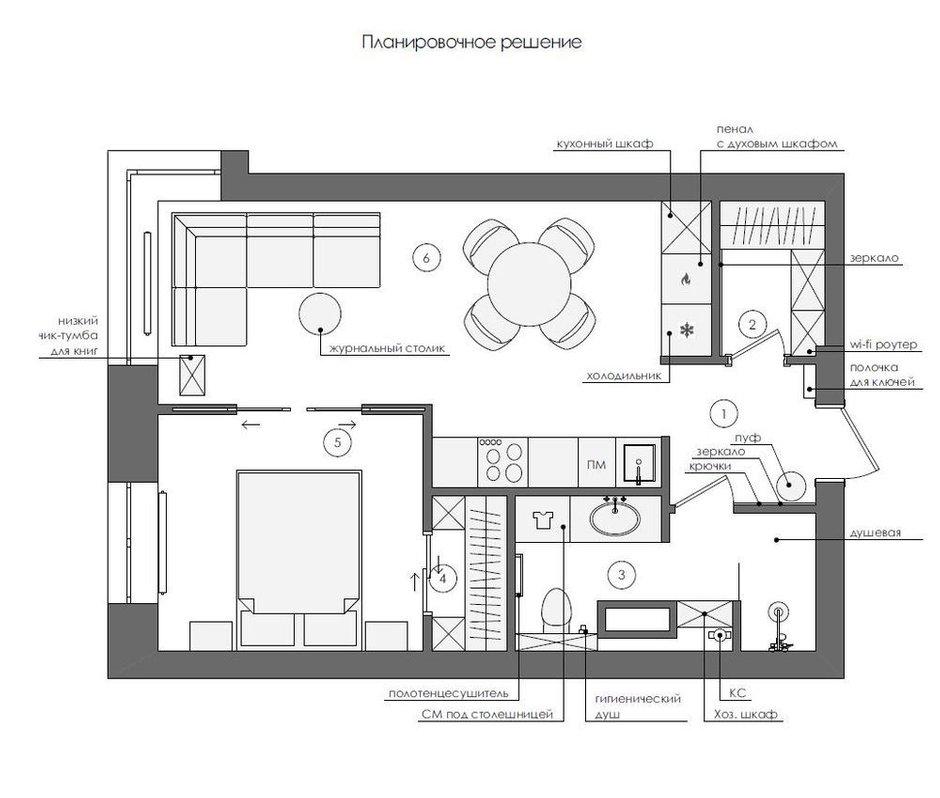 Фотография: Планировки в стиле , Современный, Квартира, Проект недели, Красногорск, 1 комната, до 40 метров, 40-60 метров, Алеся Котова – фото на INMYROOM