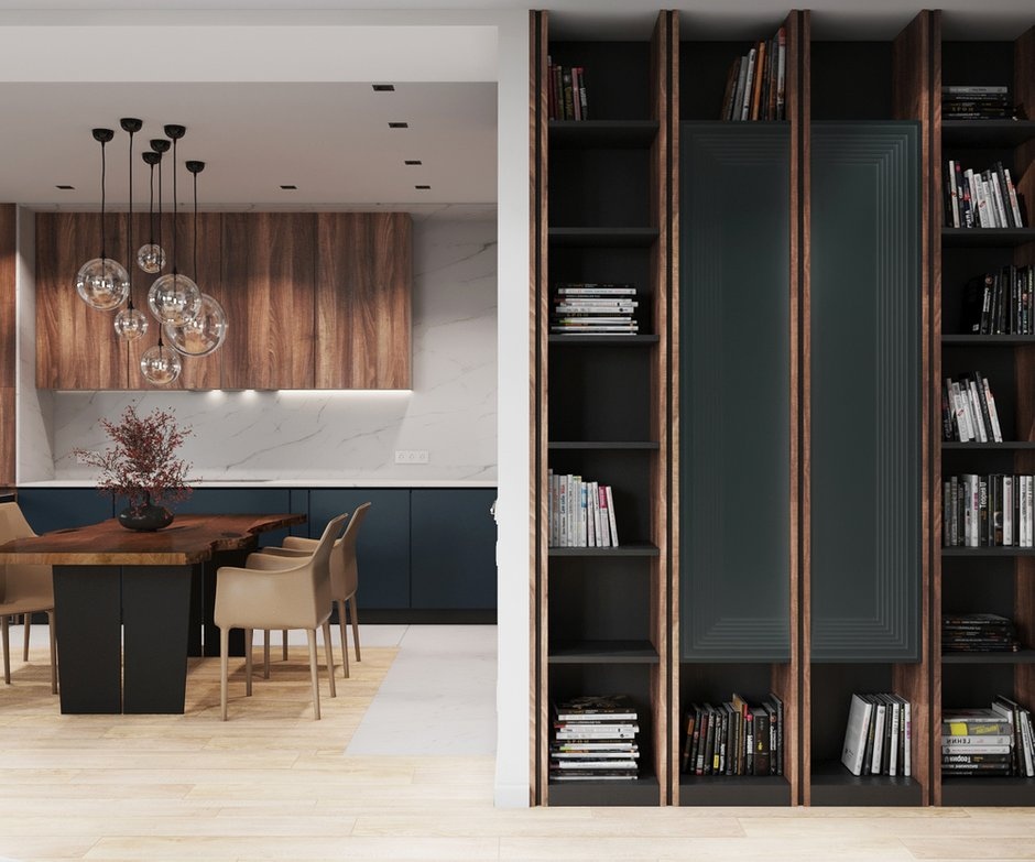 В проекте много систем хранения для книг и личных вещей. В гостиной спроектировали интересные стеллажи для этих целей.