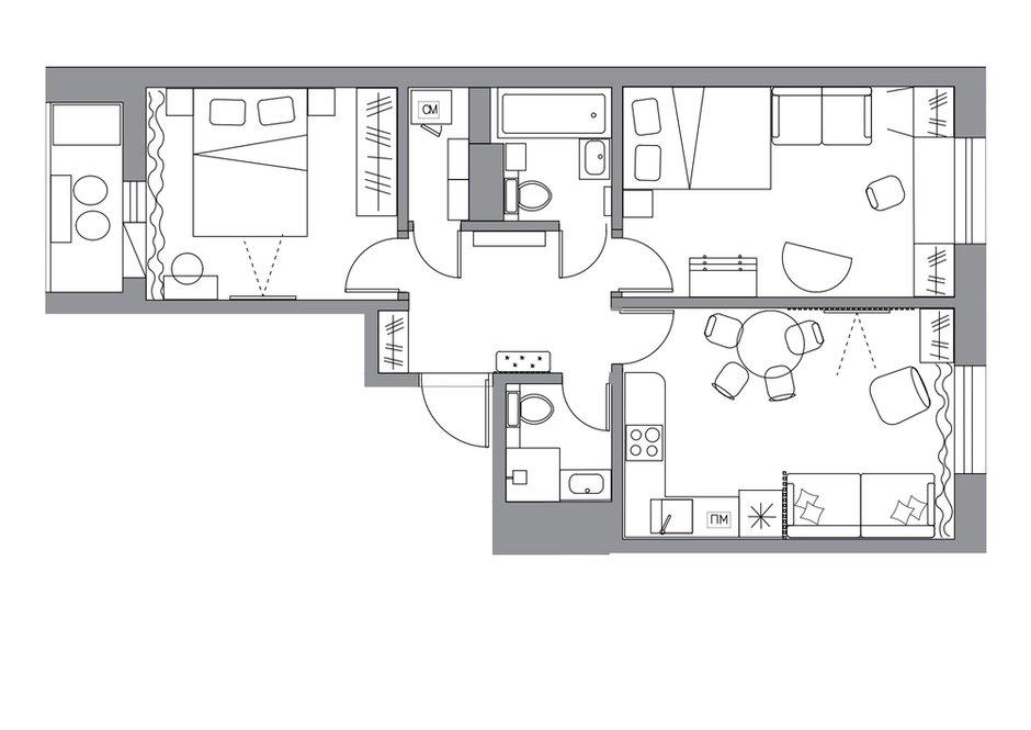 Фотография: Планировки в стиле , Современный, Квартира, Проект недели, Москва, 2 комнаты, 40-60 метров, 60-90 метров, Светлана Пырх – фото на INMYROOM