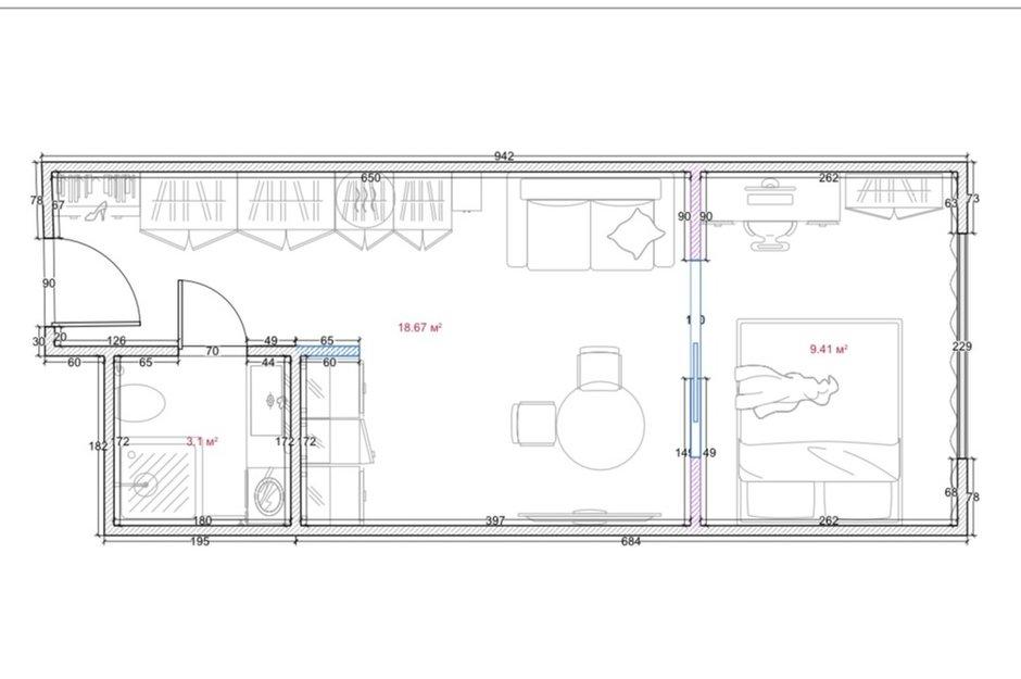 Фотография: Планировки в стиле , Современный, Малогабаритная квартира, Квартира, Студия, Проект недели, Москва, Анастасия Лаппо – фото на INMYROOM