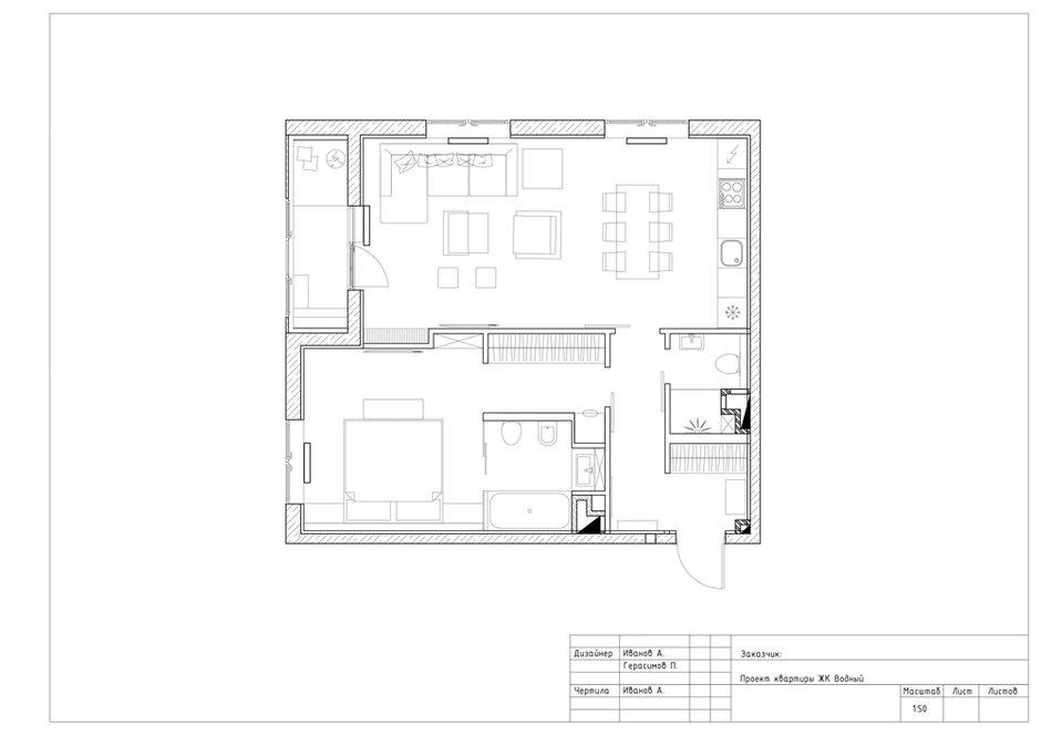 Фотография:  в стиле , Квартира, Проект недели, Москва, Geometrium, ЖК «Водный», 2 комнаты, 60-90 метров – фото на INMYROOM