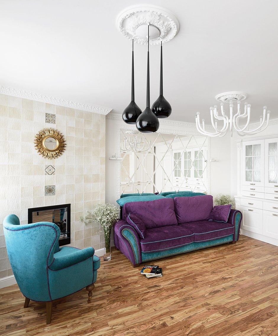 Фотография: Гостиная в стиле , Квартира, Цвет в интерьере, Дома и квартиры, Белый, Проект недели – фото на InMyRoom.ru