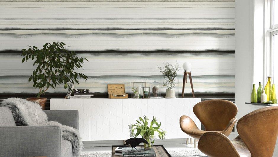 Фотография: Гостиная в стиле Скандинавский, Современный, Декор интерьера, Дизайн интерьера, Цвет в интерьере, Обои, Стены, Эко – фото на INMYROOM