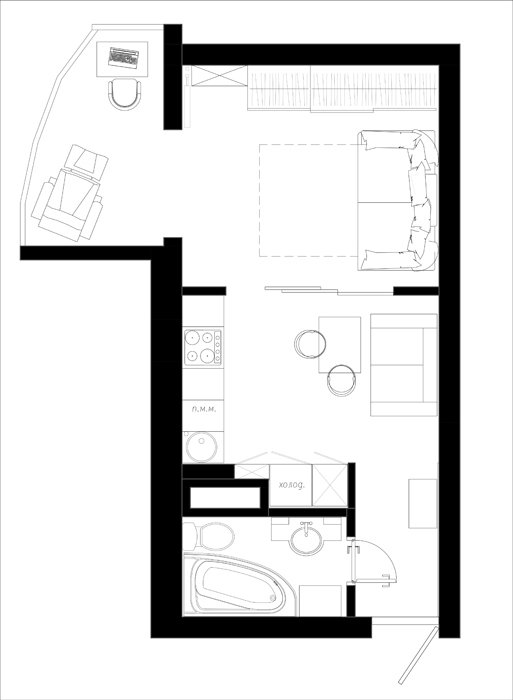 Фотография: Планировки в стиле , Современный, Малогабаритная квартира, Квартира, Студия, Проект недели, Hansgrohe, Никита Зуб, как зонировать студию, Bosch, студия в современном стиле – фото на INMYROOM