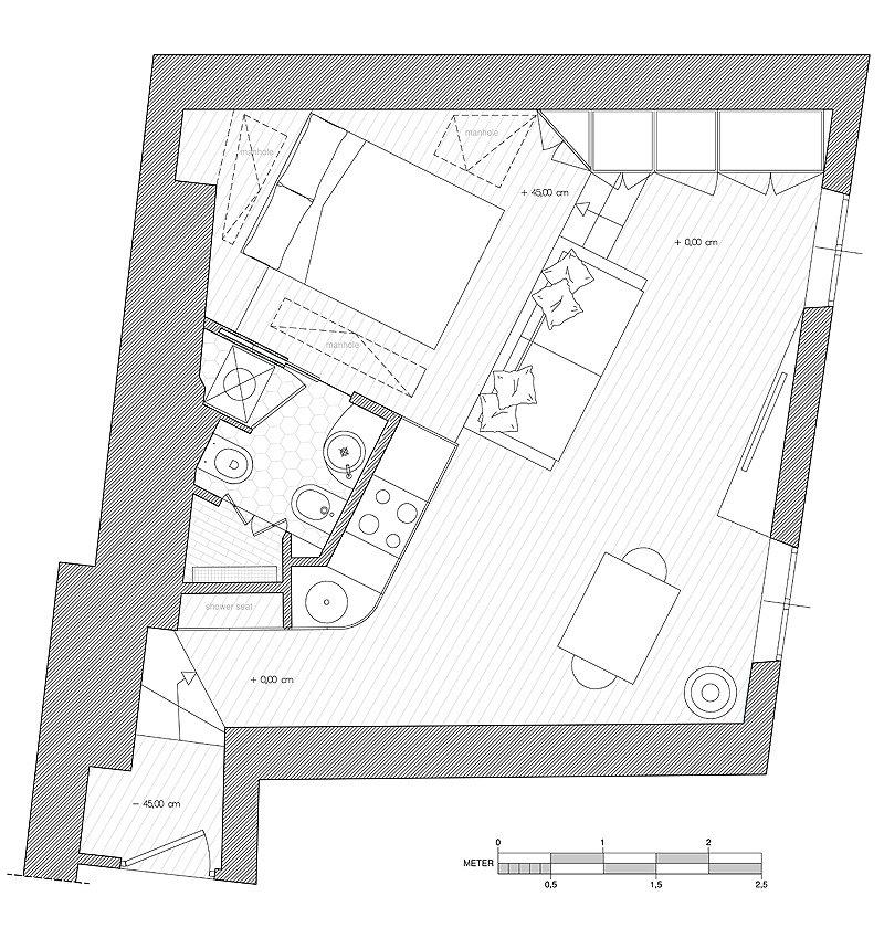 Фотография: Планировки в стиле , Малогабаритная квартира, Квартира, Италия, Дома и квартиры – фото на INMYROOM