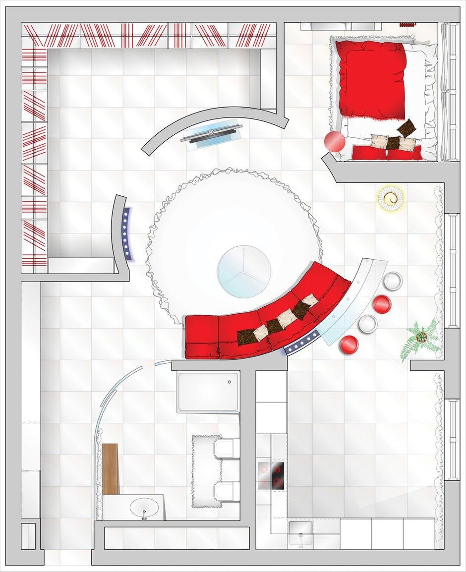 Фотография: Планировки в стиле , Квартира, Цвет в интерьере, Дома и квартиры, Белый – фото на INMYROOM