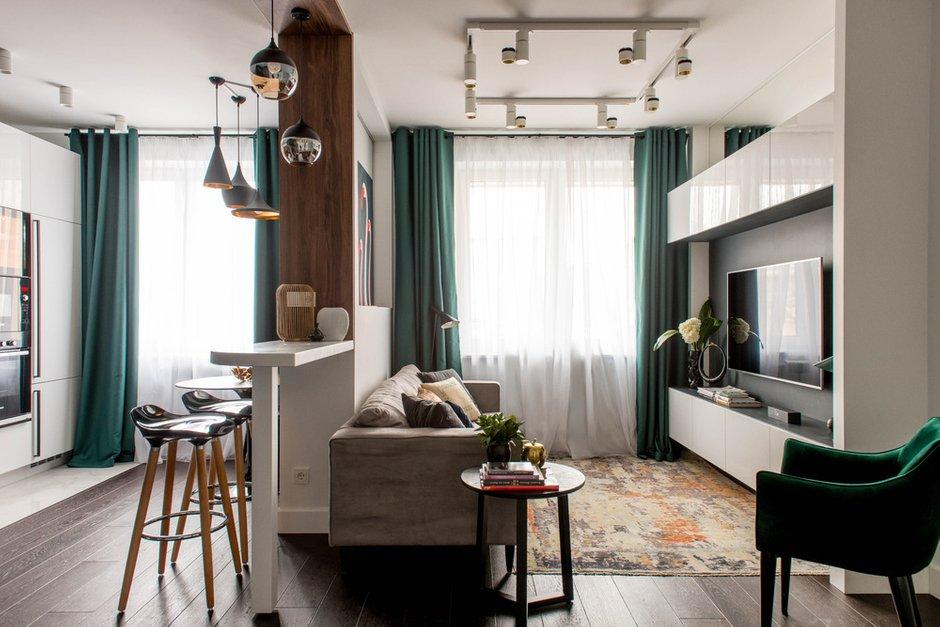 Фотография: Гостиная в стиле Современный, Квартира, Проект недели, «Уютная квартира», Наталья Преображенская, Монолитный дом, 2 комнаты, 40-60 метров – фото на INMYROOM