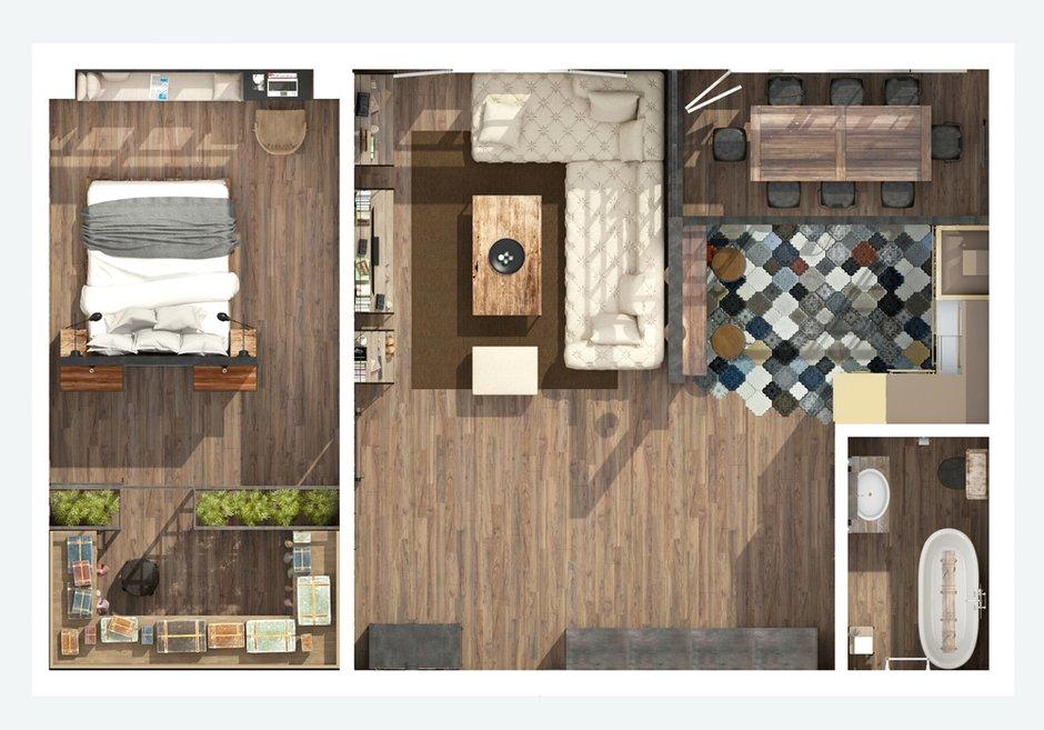 Фотография: Планировки в стиле , Лофт, Квартира, Дома и квартиры, Проект недели, Перепланировка, Переделка, КТ – фото на INMYROOM