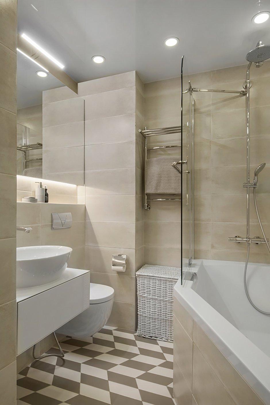 Фотография: Ванная в стиле Современный, Квартира, Проект недели, Москва, Панельный дом, 3 комнаты, 40-60 метров, 60-90 метров, Юлия Савонова – фото на INMYROOM