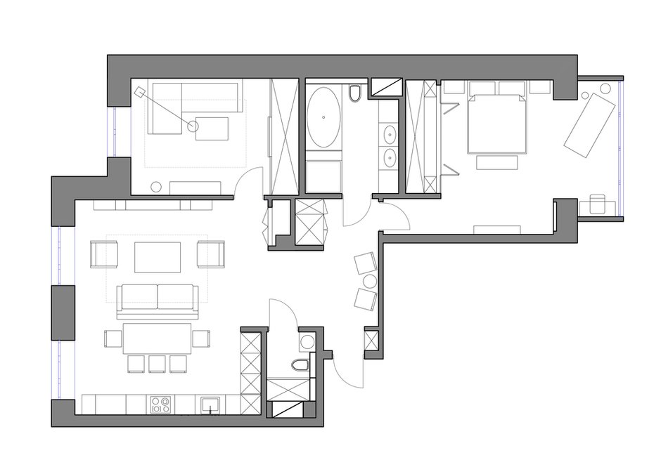 Фотография: Планировки в стиле , Современный, Квартира, Проект недели, Санкт-Петербург, Светлана Гаврилова, новостройка, Монолитный дом, 3 комнаты, Более 90 метров – фото на INMYROOM