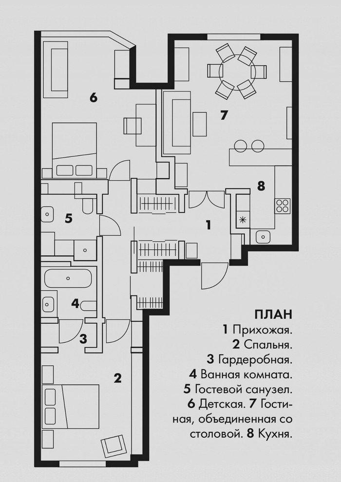 Фотография: Планировки в стиле , Классический, Современный, Квартира, Проект недели, Москва, Женя Жданова, Монолитный дом, 3 комнаты, Более 90 метров, ЖК «Мосфильмовский», #эксклюзивныепроекты – фото на INMYROOM
