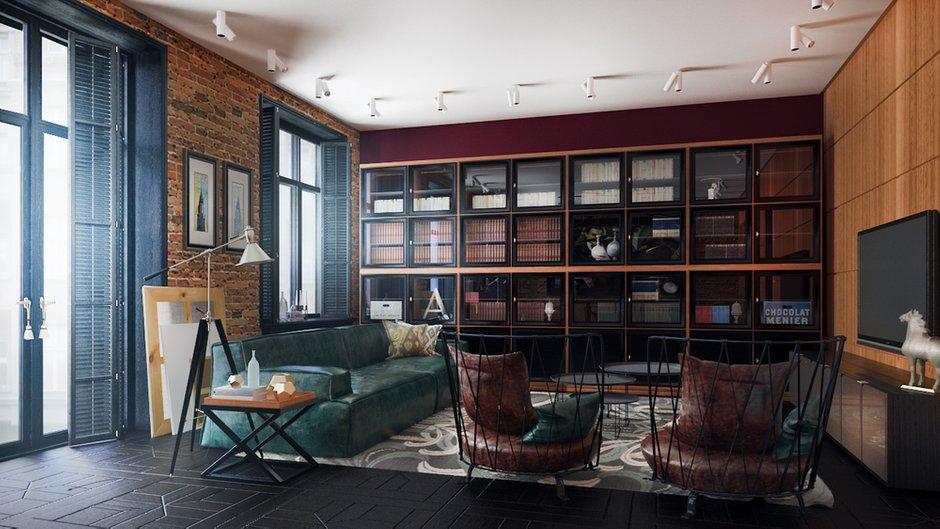 Фотография: Гостиная в стиле Лофт, Квартира, Дома и квартиры, Проект недели, Ар-деко – фото на INMYROOM