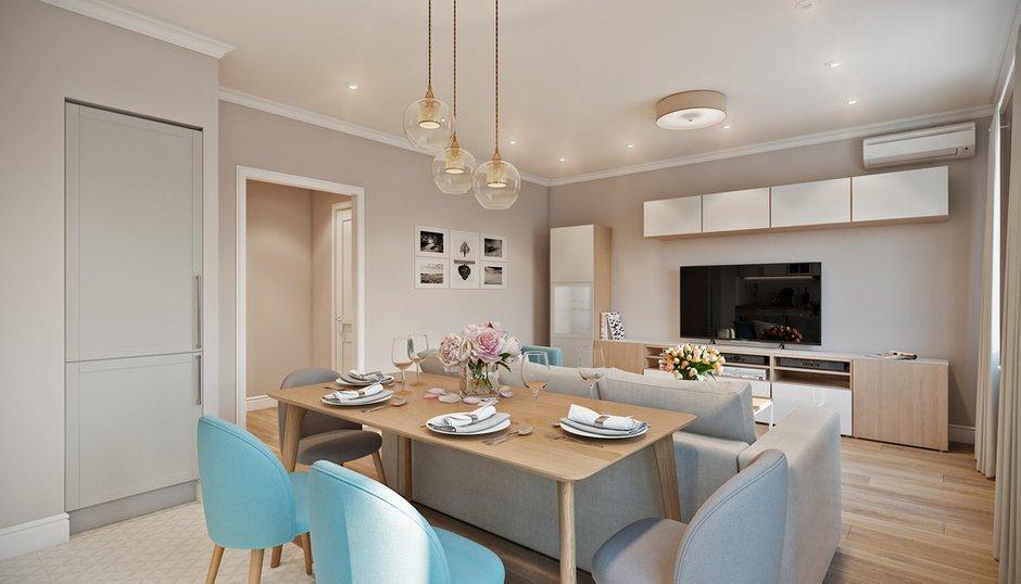 Фотография: Кухня и столовая в стиле Современный, Квартира, Проект недели, Co:Interior, Монолитный дом, 2 комнаты, 60-90 метров, Южно-Сахалинск – фото на INMYROOM