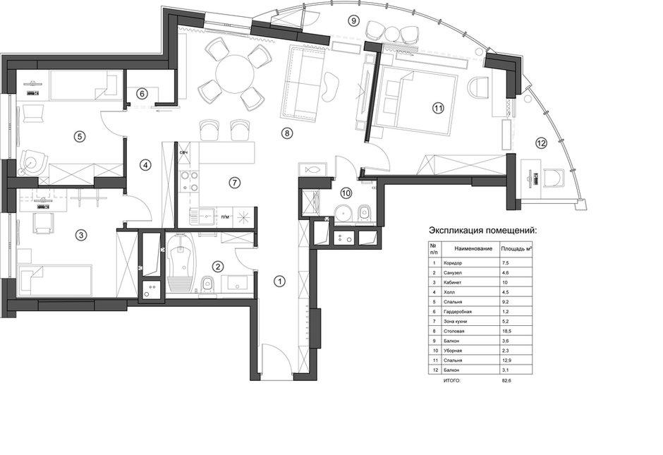 Фотография: Планировки в стиле , Современный, Квартира, Проект недели, Московская область, 3 комнаты, 60-90 метров, Екатерина Саламандра – фото на INMYROOM