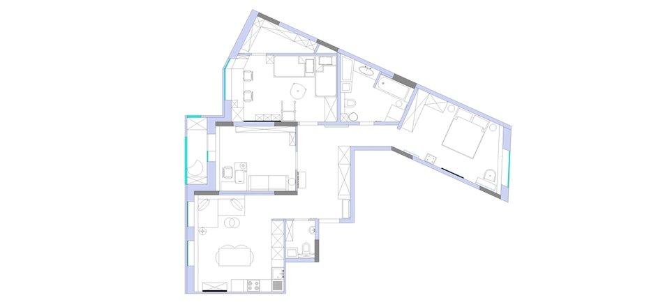 Фотография: Планировки в стиле , Современный, Квартира, Проект недели, Долгопрудный, 4 и больше, Более 90 метров, Марина Каралкина – фото на INMYROOM