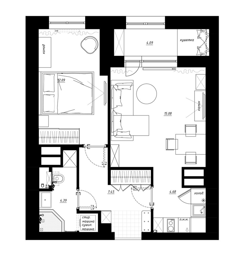 """Фотография: Планировки в стиле , Квартира, Перепланировка, Санкт-Петербург, Никита Зуб, 1 комната, 40-60 метров, Монолитно-кирпичный, планировочная среда, ЖК """"Времена года"""" – фото на INMYROOM"""