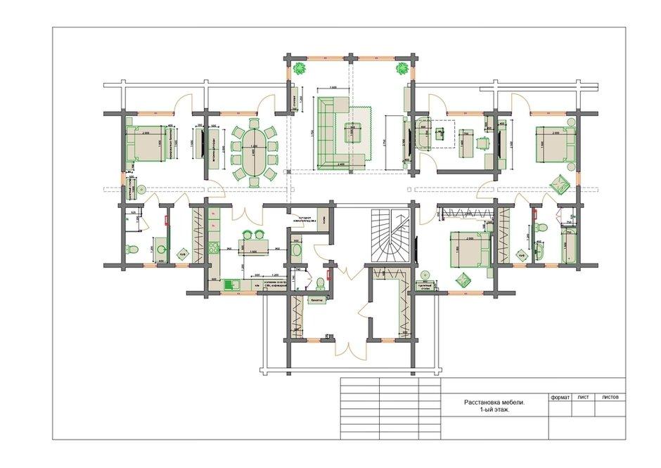 План с расстановкой мебели, первый этаж