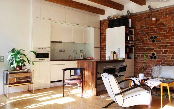 Фотография: Кухня и столовая в стиле Лофт, Квартира, Дома и квартиры, Переделка – фото на INMYROOM